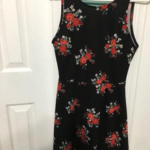 Red/Black FLoral Mini Dress